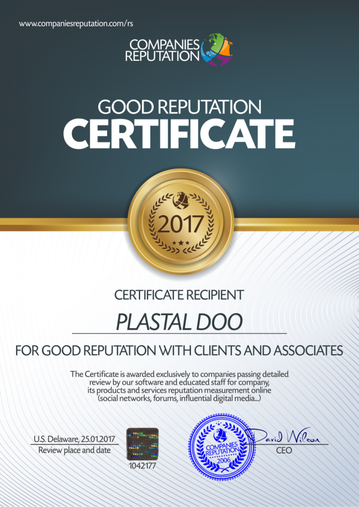 CERTIFICATE GOOD REPUTATION